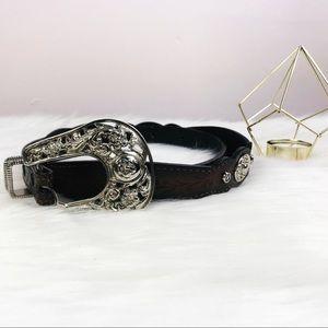Accessories - Western brown engraved detailed belt